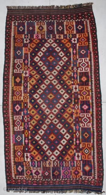 "6670 Uzbek Kilim  This circa 1920 Uzbek  Kilim measures 6'11"" X 12'11"". It is essentially in perfect condition. http://www.antiqueorientalrugs.com/kilim.htm"