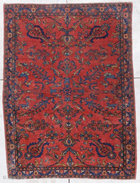 """#6750 Fereghan Sarouk Antique Rug 3'7″ X 4'9″ This circa 1900 Fereghan Sarouk antique Persian Carpet measures 3'7"""" by 4'9"""".  It is a beautiful very pure red with a small medallion which  ..."""