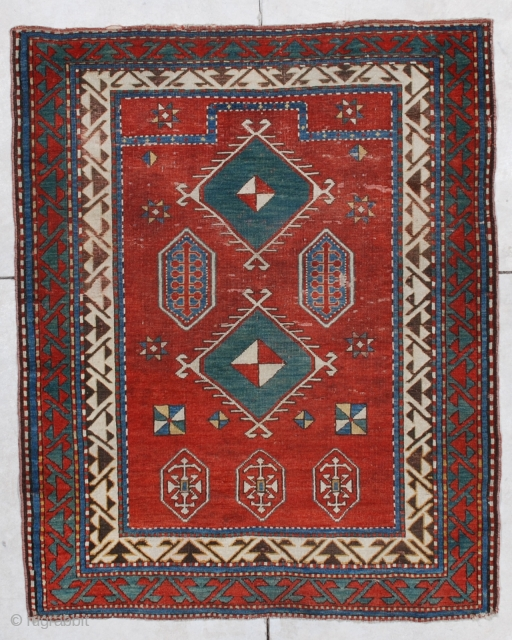 """#6876 Borchalo Kazak Antique Caucasian Rug 3'10"""" X 4'9″ This first half 19th century Borchalo Kazak measures 3'10"""" X 4'9"""". It is a lovely little prayer rug which has a tomato red field  ..."""