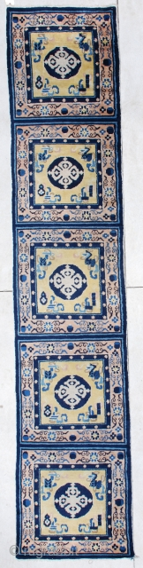 """#5996 Antique Ningxia Runner 2'6 x 12'6 for sale by carpet dealer Mosby Antique oriental Rugs in Sarasota Florida. This is a 19th century Ningxia Chinese Meditation Carpet. It measures 2'6"""" x  ..."""