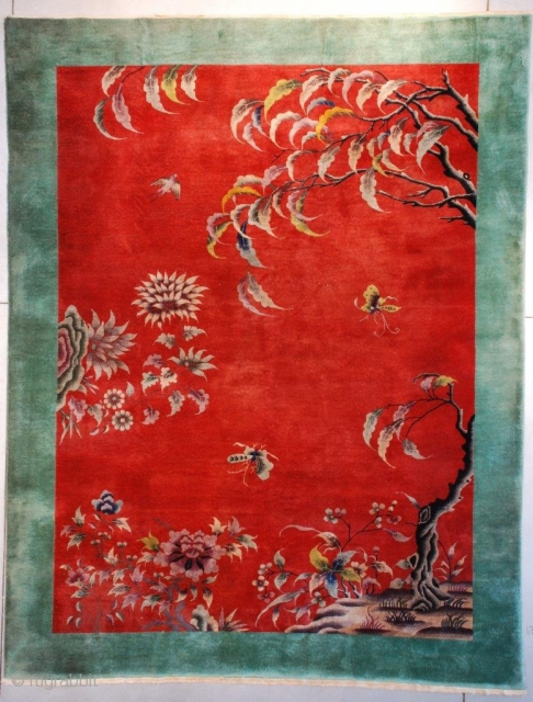 """#7632 Antique Art Deco Chinese Rug  This circa 1920 Art Deco Chinese Oriental rug measures 8'7"""" X 11'4"""" (267 x 347 cm). The motif is absolutely fantastic! Growing out of a rockery  ..."""