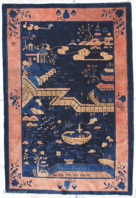 """#7085 Antique Peking Chinese Rug  This circa 1900 Peking Chinese Oriental rug measures 6'0' x 9'0"""". It is a lovely depiction of a water feature.  From the bottom up, there is  ..."""