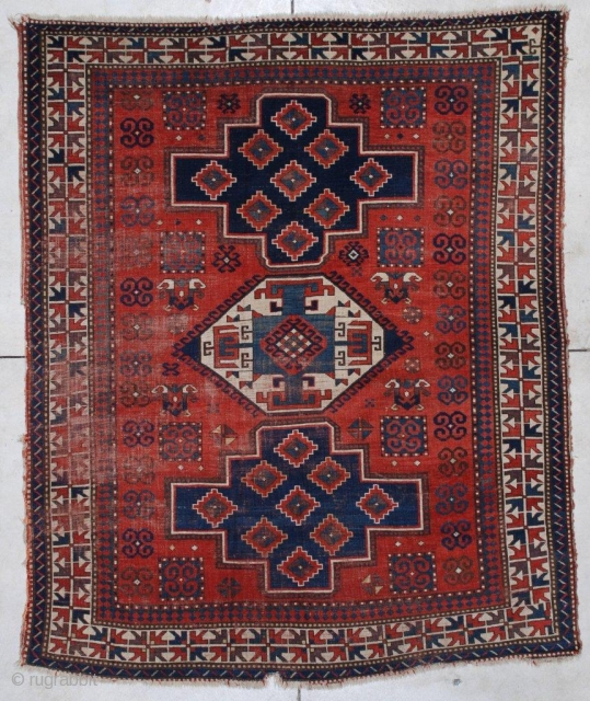 #7173 Kazak Antique Caucasian Rug 