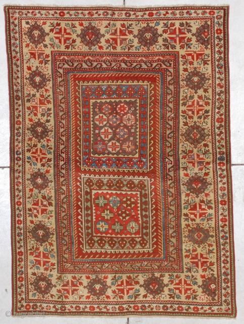"#7178 Melas Antique Turkish Rug This mid-19th century Melas or Melez antique Oriental carpet measures 3'10"" X 5'4"" (121  x 164 cm). This motif is known as the box design for  ..."