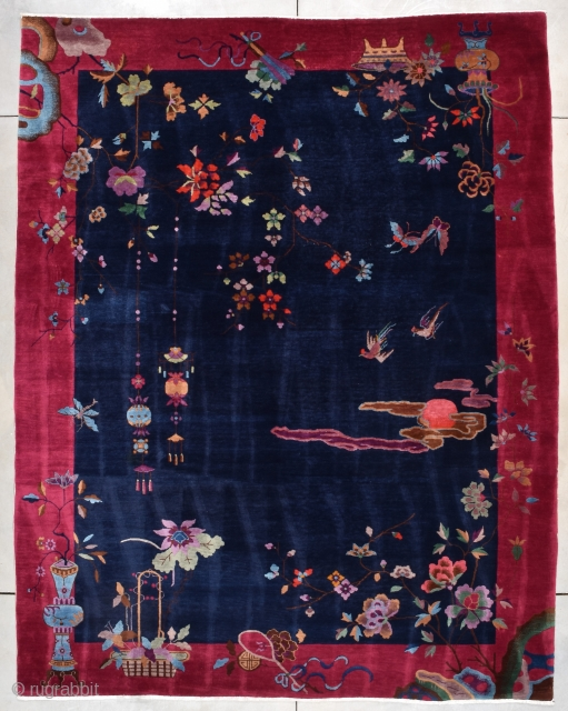 """Art Deco Chinese Oriental Rug #7856  This circa 1920 Art Deco Chinese Oriental rug measures 9'2"""" X 11'5"""". It has a dark blue field with a fantastic design. There is a four legged  ..."""