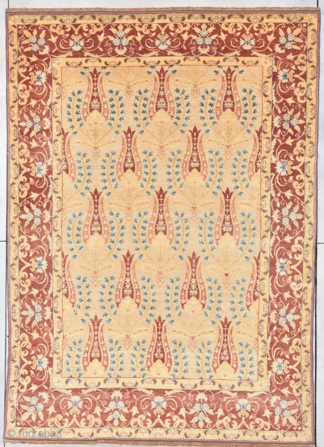 """Antique European Rug 8'0"""" X 11'4"""" #7899 This circa 1910 Antique European rug measures 8'0"""" X 11'4"""". It has a whimsical repeated design on a butter yellow field offset with blue foliage surrounded  ..."""