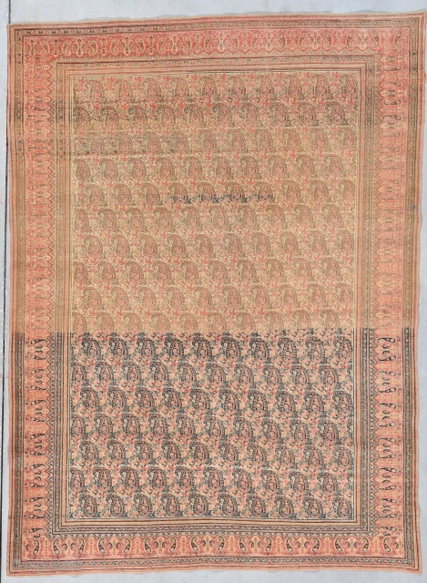 """Antique Khorasson Oriental Rug 4'8"""" X 6'5"""" #7930 This circa 1880 Khorasson measures 4'8"""" X 6'5"""".  It has a very pale red going to peach in the border and the field has  ..."""