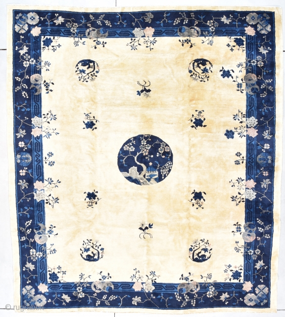 """Antique Peking Chinese Oriental Rug 8'7"""" X 9'6"""" #7896 This late 19th century Peking Chinese Oriental rug measures 8'7"""" X 9'6"""". It has four rondels containing and antlered animal under a tree and  ..."""