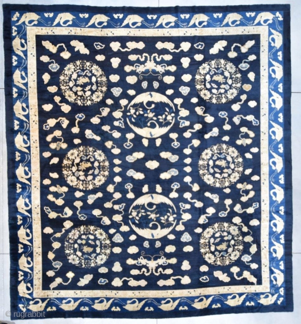 """#7080 Antique Peking Chinese Rug  This antique Peking Chinese Oriental carpet rug measures 14'0"""" x 15'5"""" (425 x 471 cm). It has a navy blue ground with six flower wreaths containing an  ..."""
