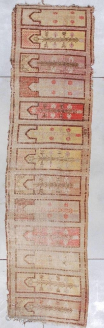 """#7359 Antique Khotan Saf Rug  This Khotan Saf measures 3'8"""" x 14'0"""" (115 x 425 cm) . It has two dog eared corners and four bites on the edges. There is a  ..."""