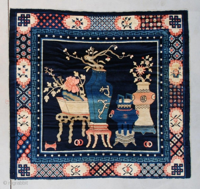 """#7490 Antique Peking Chinese  This circa 1890 Peking Chinese rug measures 5'6"""" x 5'1"""" (170 x 155 cm). It has a navy blue ground containing a beautifully drawn montage of four different  ..."""