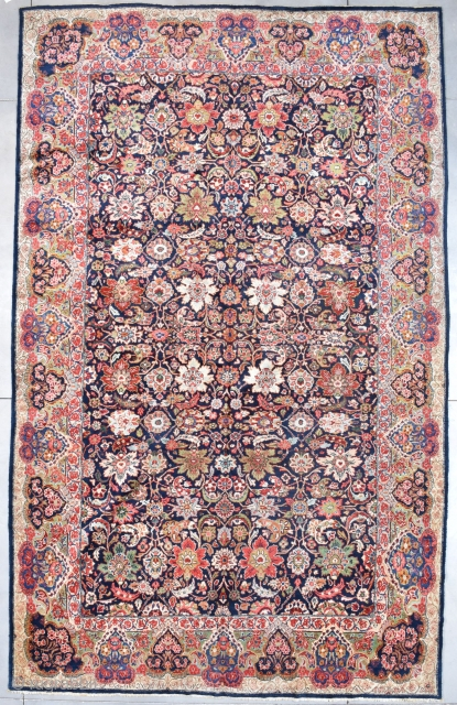 """This Palace sized 1st half 20th century Mahal Persian Oriental rug measures 10'9"""" X 17'4"""" (332 x 530 cm). It has a beautifully drawn overall floral motif completely covering the blue ground.  ..."""