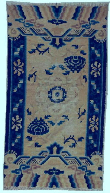 """#5935 Antique Ningxia Chinese Rug This circa 1800 Ningxia antique Chinese Oriental Carpet measures 2'11"""" x 5'2"""". It has a center medallion in ivory with a blue center with either blue or pink  ..."""