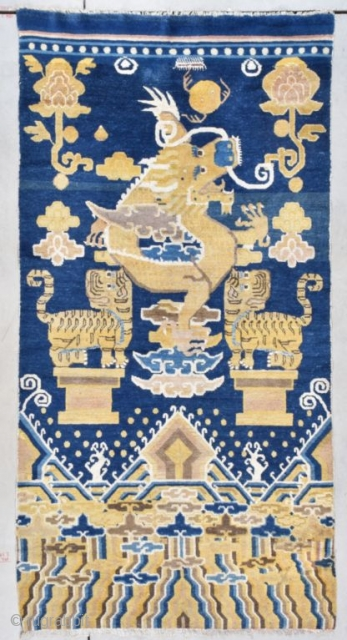 """#7771 Peking Chinese rug  This circa 1860-1880 Peking Chinese Oriental rug measures 3'8"""" X 7'2"""" (111 x 218 cm). What a rug!! I have never seen any rug even remotely like this design  ..."""