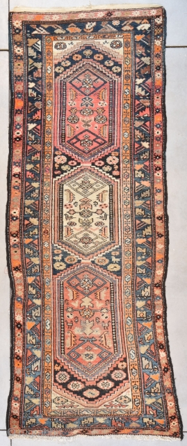 """#7678 Antique Kurd Caucasian Runner Rug This circa 1900 antique Kurd Oriental runner rug measures 3'3"""" X 9'0"""" (100 x 274 cm). It has an ivory medallion in the center flanked by two  ..."""