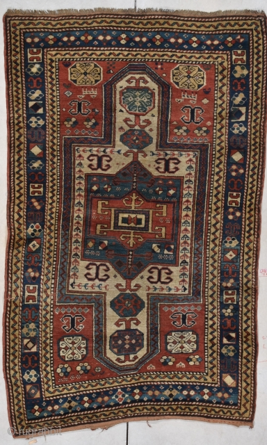 "This circa 1870 Sewan Kazak antique rug measures 3'7"" X 5'9"" (113 x 180 cm). This is a very lovely and interesting little rug. A Sewan  Miniature! I have never seen  ..."