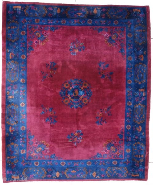 """#7546 Art Deco Chinese Rug This circa 1910 Art Deco Chinese Oriental Rug measures 9'6"""" X 11'3"""" (292 x 344 cm). It has a deep dark bing cherry red field which has contains  ..."""