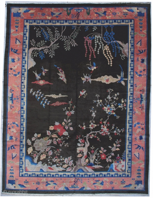 """#7066 Art Deco Chinese Rug  This circa 1910 Peking style Art Deco Chinese Oriental rug measures 8' 11"""" x 11' 9 """" (277 x 362 cm). This carpet is a veritable dreamscape.   ..."""