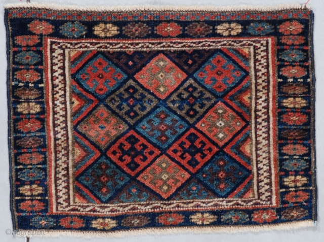 """This last quarter 19th century Jaf Kurd (INV 7561)measures 1'7"""" X 2'2"""" (51 x 67 cm). It has a field filled with typical Jaf Kurd diamonds. It has all veg dyes. It  ..."""