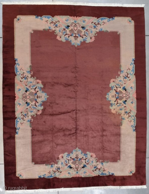 "This circa 1930 Art Deco Chinese oriental Rug measures 9'3"" X 11'9"" (283 x 362 cm). The motif is an open field in coppery brown with a wide light border at each  ..."