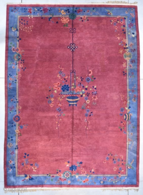 "This circa 1900 oversized Mandarin Chinese Oriental Rug in an Art Deco design measures 10'0"" X 13'6"" ( 304 x 414 cm). It is a very attractive palace sized Mandarin Chinese Carpet  ..."