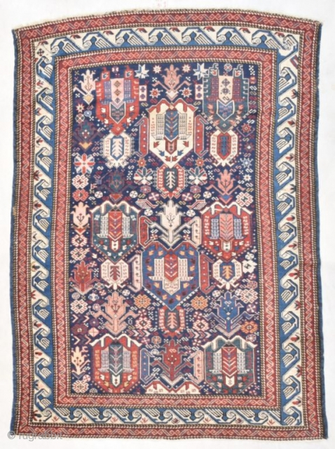 """#7735 Antique Kuba Rug This very antique Kuba rug measures 4'3"""" X 5'11"""" ( 131x 182 cm). As far as the putting an age on this rug, this could possibly be an 18th  ..."""