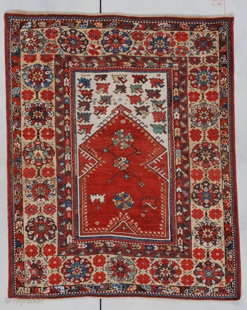 "#7143 Melas antique Turkish Oriental rug  This 18th century Melas measures 4'0"" X 5'0"". A very similar example of this rug is in the Turk Ve Islam Eserleri Museum, Istanbul, Inventory NR 318.  ..."
