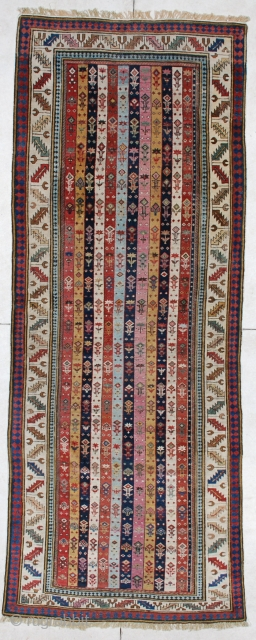 """#4177 Shirvan Runner Antique Caucasian Rug 3'7″ X 9'4″ This circa 1850 or older antique Caucasian Shirvan runner measures 3'7"""" X 9'4"""". It has twelve stripes in eleven different colors. This is the  ..."""