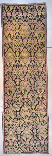 """#6504 Karabaugh Antique Oriental Rug Runner  This first quarter 19th century antique Karabaugh rug measures 6'5"""" X 20'11"""". This rug has a motif of humongous flowers in the most beautiful greens, red  ..."""