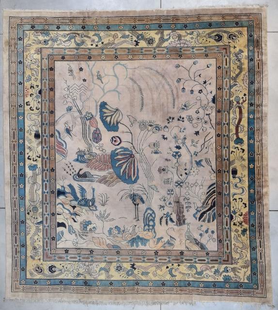 """#7807 Art Nouveau Art Deco Chinese Rug This circa 1900 Art Nouveau/Art Deco Chinese Oriental rug measures 12'0"""" X 13'2"""" (371 x 402 cm). It is a beautiful Art Nouveau carpet with a  ..."""