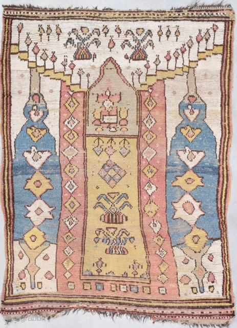 """This antique Manastir rug measures 4'1"""" X 5'4"""". This is one of the most archaic architecturally beautiful rugs that I have ever seen in my life. No one made this from a  ..."""