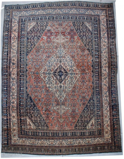 #6760 Bibicabot Antique Persian Oriental Rug 12'6″ X 16'7″