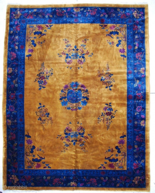 "#6780 Antique Mandarin Chinese Rug 9'11"" x 12'10""