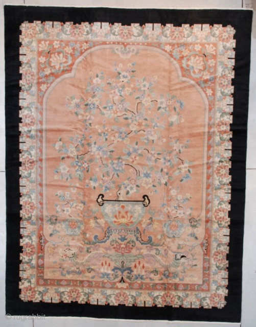 """This circa 1930 Peking Chinese Oriental Rug (#7579) measures 9'2"""" X 11'9"""" (280 x 362 cm). This is a very interesting rug.  Describing it from the bottom up we see the  ..."""