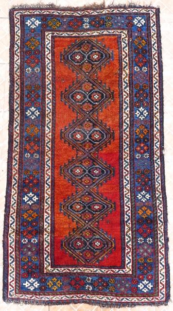 A Kelardasht Rug, 3.4 x 6.5ft. N.W. Persian, Manzanderan Province. Circa 1930 Woven by a small Kurdish community in an enclave near the Caspian Sea. Wool on wool foundation Some side damage and a few  ...