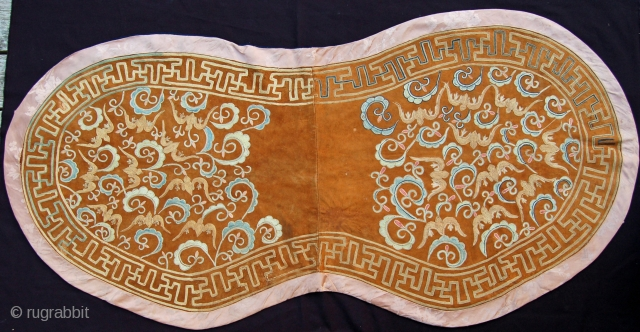 Rare  Central Asian Saddle Cover,  silk embroidery chain stitch on fine leather,