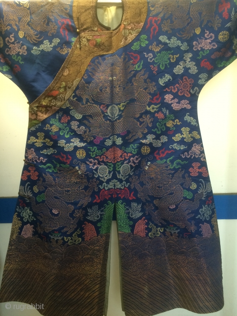 Wonderful Antique Chinese Imperial Ming Dynasty Style Silk Blue Dragon Robe 19Century