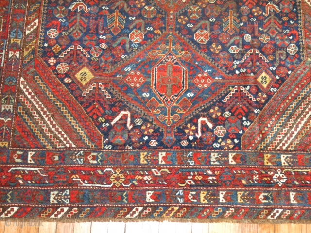 Antique Shiraz 5'9''x6'4''.  Has been repaired in few areas.  Hot red.  Entire inventory online at www.rugsrusonline.com