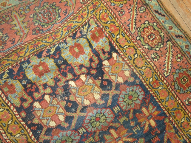 Antique repair worthy veramin?  Or kurdish?  4'3''x9'8''.  Worn here and there.