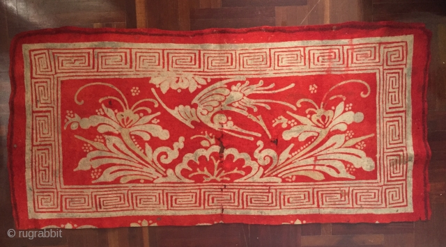E19thC Resist dyed felt kang cover found in Lhasa 