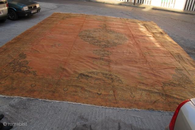 Anatolian oushak large carpet  very fine 8,20x6,40 cm Circa 1900