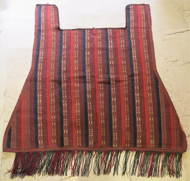 Antique Jajim and Felt horse cover hand-sewn to felt all original and wonderful colors  ,very nice condition also  horse saddle and silk tassel planted and size 1,62x 1,73 cm (  ...
