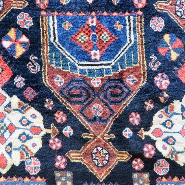 Antique Shiraz Khamseh rug wonderful colors and excellent condition all original Circa 1910