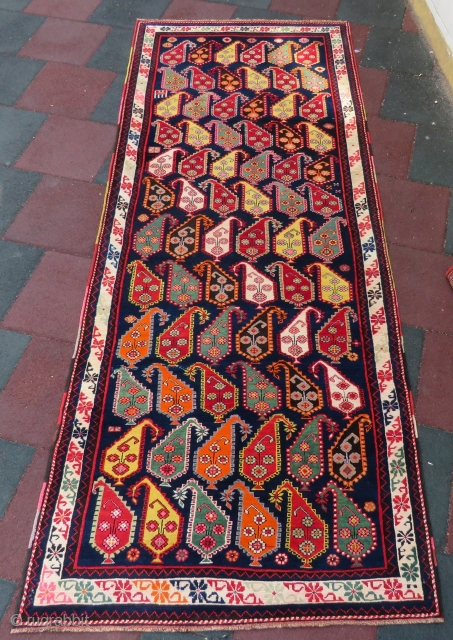 Caucasian Ganja rug wonderful fansy colors and excellent condition all original size 3,12x1,23 cm Circa 1910-1915