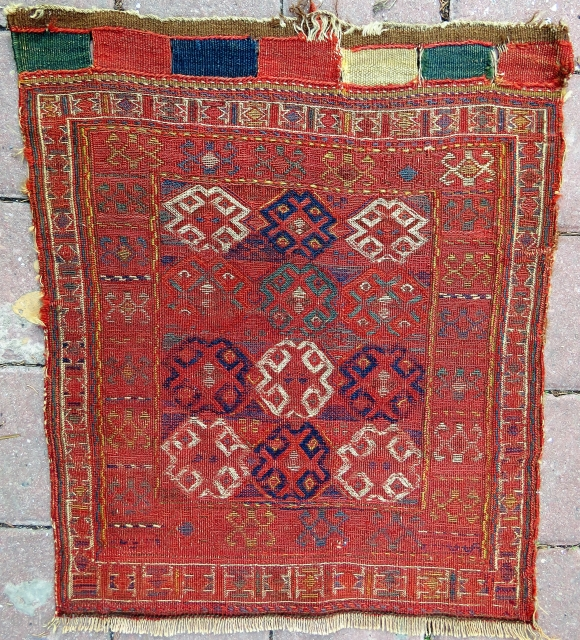 Persian Kurdish Sumak saddle bagface wonderful colors and all original Circa 1880