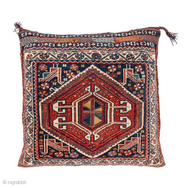 Qashqai Cushion, Late 19th century, Good condition with all natural colors, Not restored, Size: 60 x 60 cm. (24 x 24 inch). www.sadeghmemarian.com