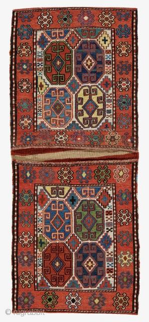 Shahsavan Saddle-bag (Khordjin), Circa 1900, Excellent condition, Not restored, Size: 112 x 47 cm. ( 44.1 x 18.5 inch )