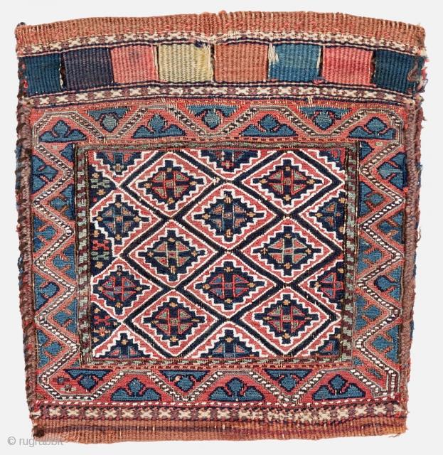 Shahsavan Chanteh, Sumak technic, Late 19th century, All natural colours, 31 x 31 cm. (12 x 12 inch).
