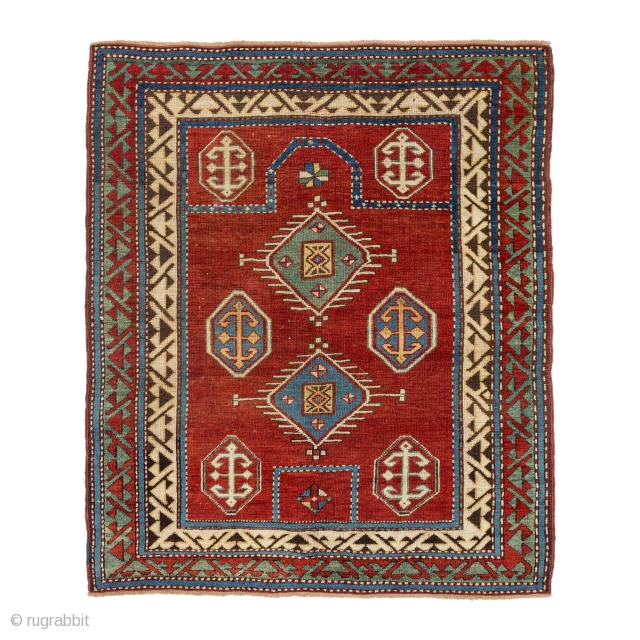 Caucasian-Borchalou Prayer Rug, 19th century, Very good condition, Some professional/invisible repair, Size: 129 x 111 cm. ( 50.8 x 43.7 inch ), www.sadeghmemarian.com