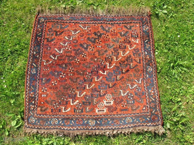 Shiraz area bird rug, Early 20th century, Good and original condition, All natural colours, Not restored, Size: 100 x 95 cm. (39 x 37.5 inch).